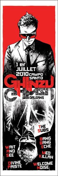 Serigraphie Ghinzu. 50 exemplaires. 2010. Rock art poster. artwork : will argunas