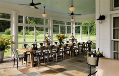 farmhouse porch with table for 20!