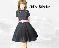 50s Style Fit and Flare Dress Large Black & Pink Full Skirt, Short Sleeve Rockabilly Look Rock n Roll Dress Mid Century Inspired Fashion