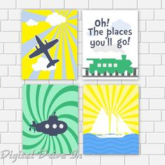 Nursery Printable Dr Seuss Quote Oh The Places You'll Go  Plane Train Sailboat Submarine Wall Art, 8 x 10 Instant Download