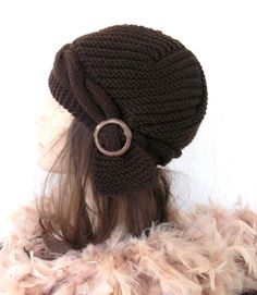 Hand Knit  hat  Slouchy Beanie Victorian  Brown Hat with by Ebruk