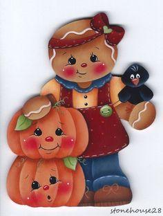 HP GINGERBREAD with Pumpkins FRIDGE MAGNET #Handpainted