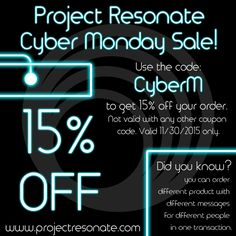 Project Resonates cyber Monday sale!
