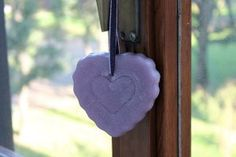 https://flic.kr/p/zEg8Ys | WISTERIA HEART TO HANG – MADE OF WAX | Wisteria heart to hang, made of wax. 100% natural essential oil with peppermint fragrance. It has milled sides and it's decorated with some freehand details. It's adorned with a purple and silver ribbon. It's suitable for all rooms and events. Size: 100 x 90 mm.  Handmade.  Read more:   www.ilmiomondoincera.com