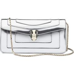 BVLGARI Serpenti Forever metallic calf-leather shoulder bag ($2,085) ❤ liked on Polyvore featuring bags, handbags, shoulder bags, shiny mirror silver, shoulder bag purse, white purse, metallic purse, metallic shoulder bag and fold over purse
