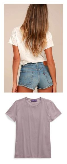 """""""Belize Bella"""" by heatherehardy ❤ liked on Polyvore featuring shorts, blue, mid thigh denim shorts, cut-off shorts, mid rise shorts, cutoff shorts, blue shorts, tops, t-shirts and purple"""