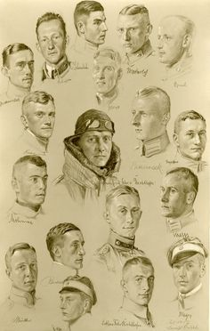 Portrait drawing of Jasta 11 pilots by Arnold Busch, July 1917.
