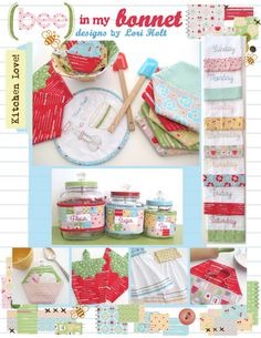 This is a Lori Holt pattern to sew all kinds of cute things for the kitchen that you love | @ Lori Holt's shop on Etsy