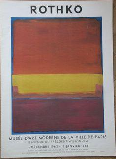 Mark ROTHKO - RARE Affiche poster Musée d'Art Moderne Paris Mourlot 1962 1963