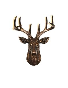 BACK-ORDERED - White Faux Taxidermy - The MINI Bennett - Bronze Resin Deer Head- Stag Resin Bronze Faux Taxidermy- Chic & Trendy