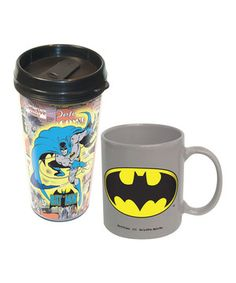 Superheroes rarely have the mornings all to themselves, which is why this set of two coffee mugs is a heroic idea. The ceramic piece is for lounging around in the Bat Cave, while the travel mug works wonders when speeding off to catch bad guys.