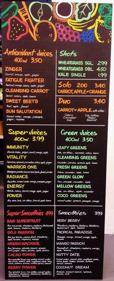 New Juice Menu Board #freehand #signwriting #signage #poscapen #chalkboard…