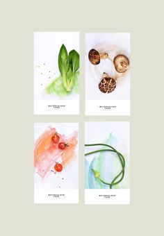 p Beijing-based artist Yum Tang turns food craving into a poetic desire with a series of watercolors From cherry tomatoes to ginger small square posters feature raw vegetables and fruit against co Food Graphic Design, Food Poster Design, Web Design, Food Design, Watercolor Food, Food Packaging Design, Publication Design, Food Illustrations, Food Art