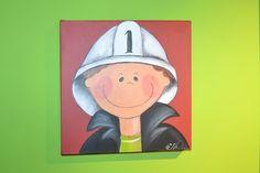 Schilderijtje brandweerman € 35,00. Handgemaakt! #schilderijtje #kinderkamer #Decodomus