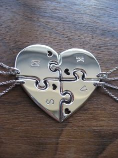 Four Piece Heart Best Friend Pendant Necklaces with Hearts on Etsy, £176.00