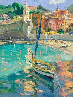 "Vernazza Yellow Boat by Scott Burdick, 2007, Cinqa Terra, Italy - oil, 16"" by 12"" #OilPaintingCity"