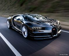 bugatti chiron in motion front