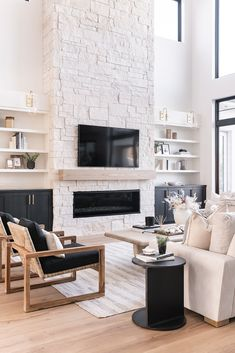 Fireplace Built Ins, Home Fireplace, Living Room With Fireplace, Fireplace Design, Home Living Room, Living Room Designs, Living Room Decor, Modern Fireplace, Stone For Fireplace