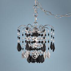 Mini Chandelier Plug In: Nicolli Black Crystal 8