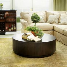 Valeta Brown Coffee Table - Discover home design ideas, furniture, browse photos and plan projects at HG Design Ideas - connecting homeowners with the latest trends in home design & remodeling Condo Furniture, Living Room Furniture, Round Coffee Table, Cozy Living Rooms, Living Room Inspiration, Room Set, Brown Coffee, House Design, Garden Design