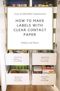 One of many reasons why a house gets messy is because there's not always a clearly marked home for certain things. Make Labels with Clear Contact Paper. Diy Clear Contact Paper, Contact Paper Cabinets, Diy Organization, Organizing Ideas, Household Organization, Paper Dahlia, Clear Labels, How To Make Labels, Pantry Labels
