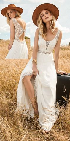 Fabulous Lace & Chiffon Scoop Neckline A-Line Wedding Dresses