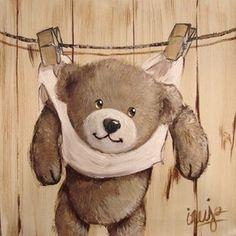 Tableaux peinture - Nounours Vintage Teddy Bears, Cute Teddy Bears, Art D'ours, Cute Animals Images, Art Nouveau Poster, Bear Illustration, Country Paintings, Tatty Teddy, Mini Canvas