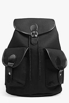 Ruby PU Detailed Canvas Rucksack Backpack Purse 0ed14f93122
