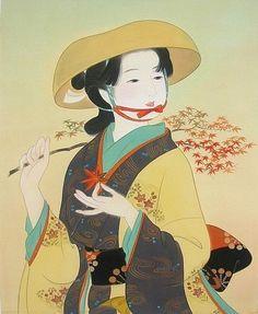 枫叶红彤彤 A woman dressed in kimono Japanese Art Modern, Traditional Japanese Art, Japanese Artwork, Japanese Painting, Japanese Prints, Oriental, Japan Illustration, Beauty In Art, Japan Design
