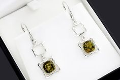 Square Earrings Square Amber Earrings Green Amber Earrings Amber Earrings, Women's Earrings, Square Earrings, Dog Tag Necklace, Layering, Feminine, Green, Etsy, Jewelry