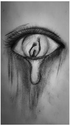Creepy Drawings, Dark Art Drawings, Art Drawings Sketches Simple, Pencil Art Drawings, Sketches Of Eyes, Drawings Of Eyes, Drawings Of Love, Cool Simple Drawings, Creepy Sketches