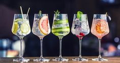 Five Colorful Gin Tonic Cocktails Wine Stock Photo (Edit Now) 1039600045 Drinks Com Vodka, Gin & Tonic Cocktails, Healthy Cocktails, Gin And Tonic, Alcoholic Drinks, Gin Fizz, Champagne Cocktail, Cocktail Drinks, Cocktail Ideas