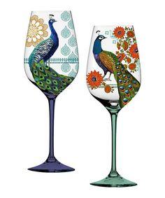 Proud Peacock Wineglass Set