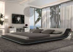 Modern Black Platform Bed with LED Lighting - Queen Size For Bedroom Furniture