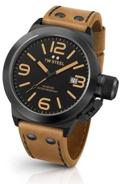 4400a044f5d Best TW Steel Canteen Leather Unisex Quartz Watch with Black Dial Analogue  Display and Brown Leather Strap