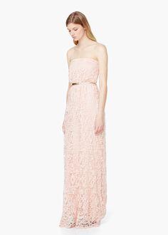 Lace detail gown - Dresses for Women | MANGO