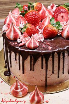 Čokoládovo-jahodový drip cake (stékaný dort) - Powered by Pear Recipes, Cake Recipes, Dessert Recipes, Cake Decorating For Beginners, Bean Cakes, Drip Cakes, Healthy Breakfast Recipes, Cake Pans, Cake Designs