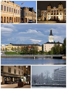 Top: Rantakatu in downtown Oulu, Oulu City Hall Middle: Lyseo Upper Secondary School and the Oulu Cathedral Bottom: Shops along Kirkkokatu, Radisson Blu Hotel along Ojakatu Easter Island, Secondary School, Chile, Landscape Photography, City Photo, Cathedral, Tours, America, Mansions