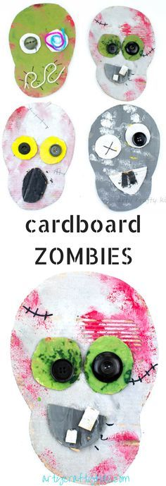 Arty Crafty Kids | Halloween | Cardboard Zombie Halloween Craft for kids using recycled materials. #halloweencraft #halloweenkidscraft