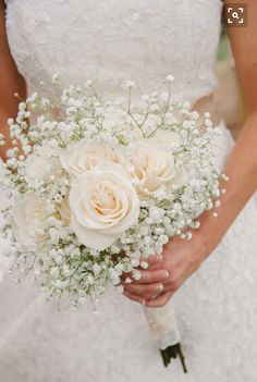 A Simple Bouquet Of Ivory Roses And Baby S Breath Photo Via Project Wedding Just No