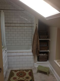 An attic bathroom.