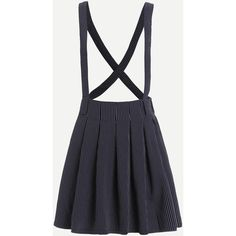 Navy Striped Suspender Pleated Skirt ($15) ❤ liked on Polyvore featuring skirts, navy, knee length pleated skirt, navy stripe skirt, navy blue striped skirt, stripe skirts and short skirts