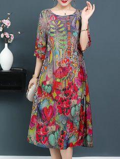 Elegant Printed silk Dress