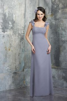 Empire Ruched Floor Length Gray Prom Gowns