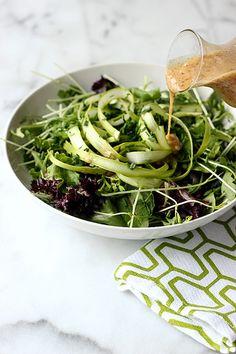 Spring Green Salad with Honey Dijon Almond Butter Dressing
