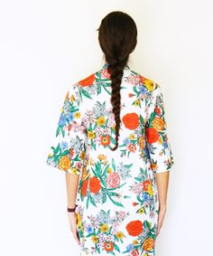 1950s Bright Floral Housecoat/Vintage Floral Robe/Bright Maxidress/Mod Floral Pajamas