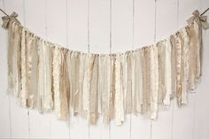 Burlap Lace and Linen Rag Tie Banner  Neutral by EleganceProps, $35.00