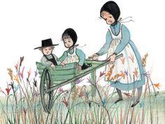 Young Gardner's - P. Amish, American Artists, Folk Art, Disney Characters, Fictional Characters, Arts And Crafts, Wheelbarrow, Disney Princess, Gallery