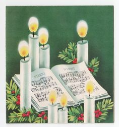 Vintage Greeting Card Christmas Candles Sheet Music Silent Night