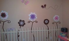 Madison's Picket Fence & Garden I made on her wall.